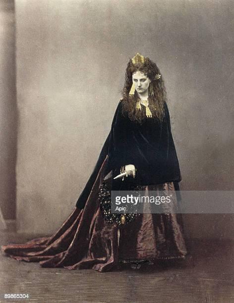 Italian Virginia Oldoini countess of Castiglione she was the spy of french emperor NapoleonIII here photo by PierreLouis Pierson with gouache...