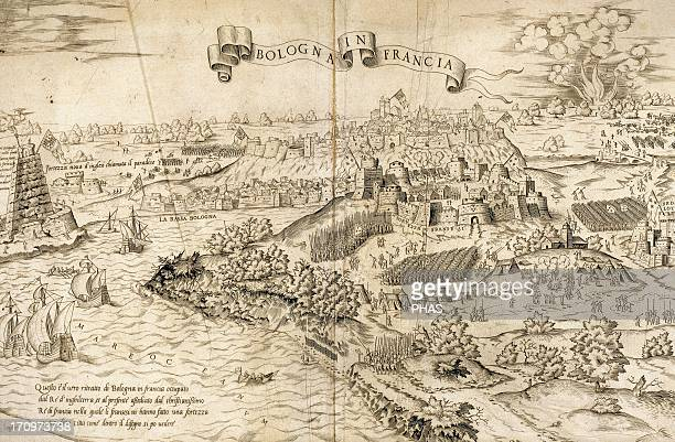 Italian War of 15421546 Siege of Boulogne during king Henry VIII of England's third invasion of France Engraving