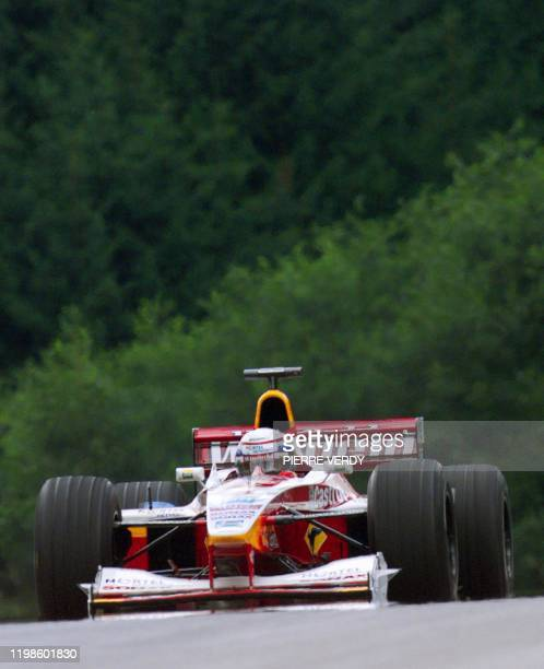 Italian WilliamsSupertec driver Alessandro Zanardi steers his car on the racetrack during the first free practice session in Spielberg 23 July two...