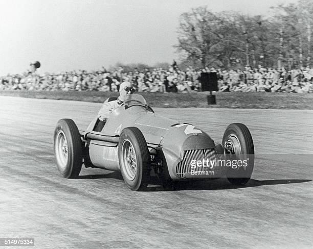 Italian wins Grand Prix auto race Silverstone England Giuseppe Farina of Italy driving an Alfa Romeo is shown winning the European Grand Prix auto...
