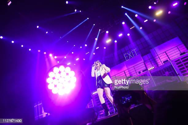 Italian woman singer Emma Marrone sing during her live concert of quotEssere Qui Boom Edition Tourquot in Mediolanum Forum in Assago Milan Italy on...