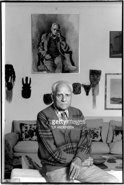 Italian writer Alberto Moravia at home on April 16 1979 in Rome Italy