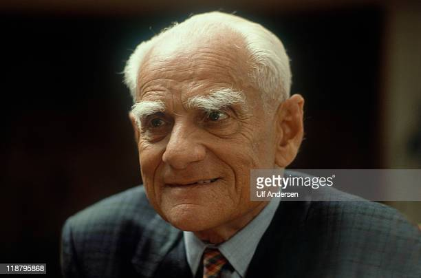Italian writer Alberto Moravia poses during a portrait session held on May 6 1985 in Paris France