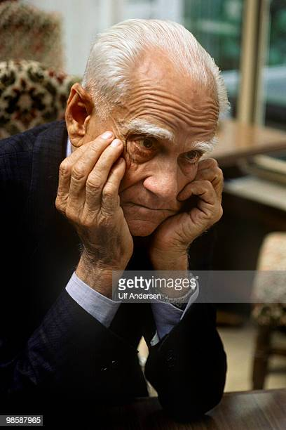 PARIS FRANCE MARCH 25 Italian writer Alberto Moravia poses for a portrait session on March 25 1986 in ParisFrance