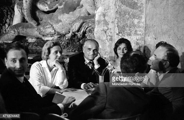 Italian writer and journalist Alberto Moravia attending the gala evening of the 12th Strega Prize at Villa Giulia nymphaeum Rome 19th July 1958