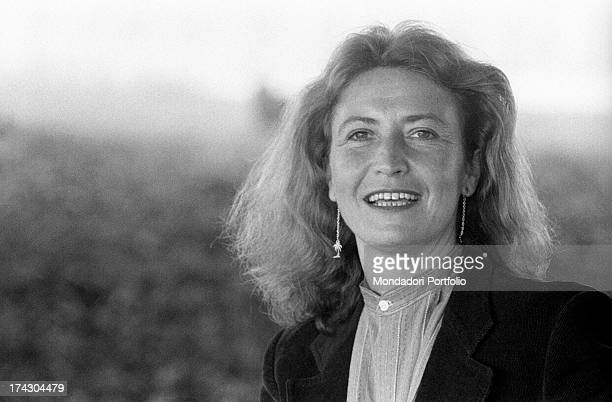 Italian writer and journalist Barbara Alberti smiling 1970s