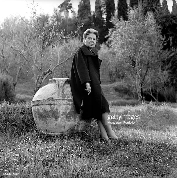 Italian writer and translator Anna Banti photographed in the exterior of her fashionable house in Florence Florence June 1962