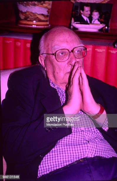 Italian writer Andrea Camilleri covering his mouth 1999