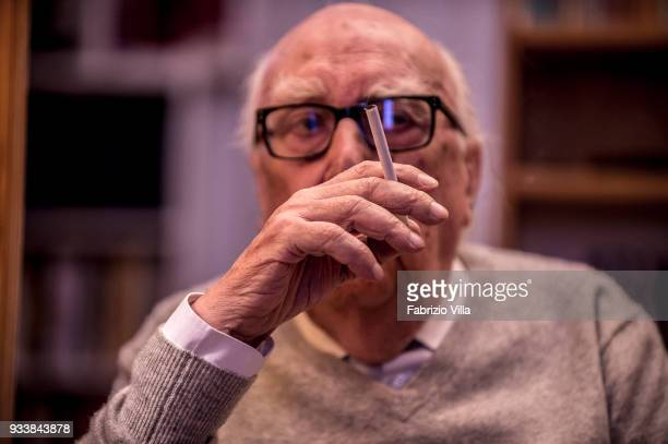 Italian writer Andrea Camilleri poses in his house on October 13 2017 in RomeItaly Camilleri is the author of Commissario Montalbano series
