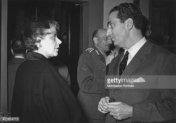 Italian writer Anna Banti and Italian publisher Federico Gentile chatting Florence 1950s
