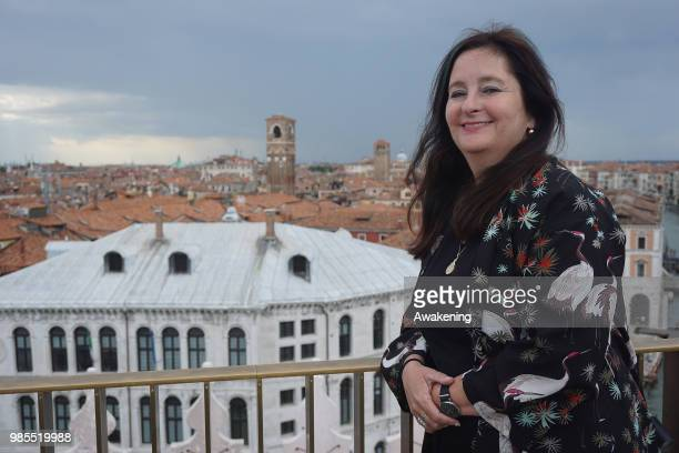 Italian writer Helena Janeczek poses on the terrace roof in Fondaco dei Tedeschi palace on June 27 2018 in Venice Italy The five finalists of the...