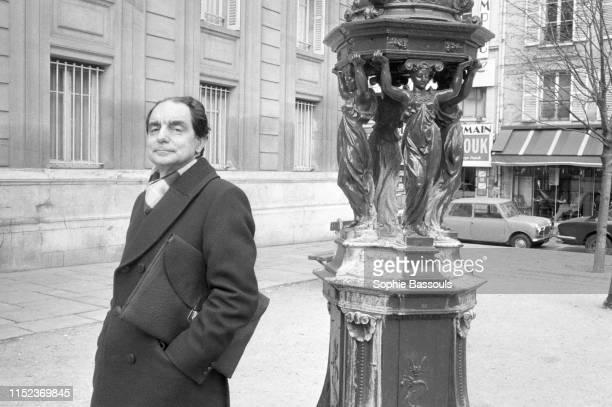 Italian writer Italo Calvino in Paris Saint Germain des Prés 5th December 1974