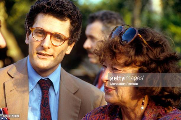 Italian writer journalist Alain Elkann with Germanborn Italian editor Inge Feltrinelli during a social occasion Elkann also known as TV host and...