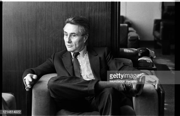 Italian writer journalist poet theater critic and politician Alberto Arbasino sitting on an armchair Rome March 6th 1987