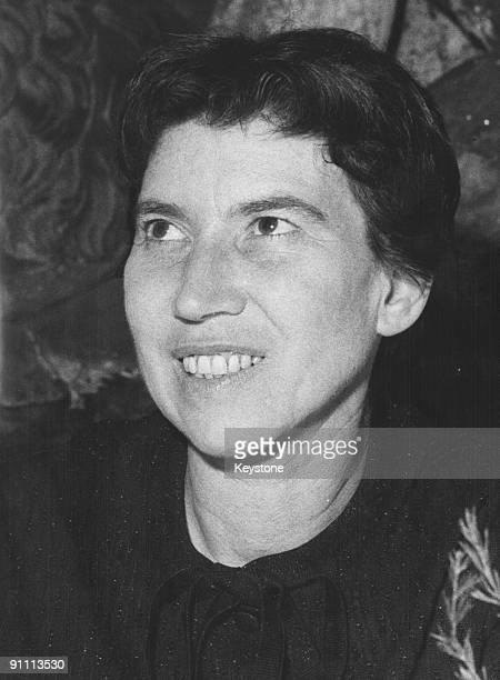 Italian writer Natalia Ginzburg after being awarded the Strega Prize for her novel 'Lessico Famigliare', Rome, 4th July 1963.