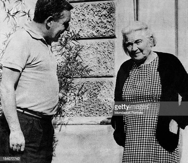 Italian writer Osvaldo Pagani interviewing Benito Mussolini's wife Rachele Guidi Morbegno 1970s