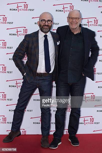 Italian writer, screenwriter Donato Carrisi and John Simenon arrive on the red carpet for Maigret during the 2016 Rome Fiction Fest.