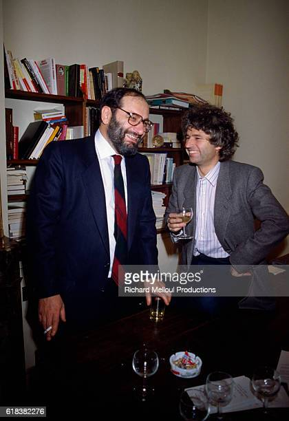 Italian writer Umberto Eco and French filmmaker JeanJacques Annaud share a laugh in a Paris office Annaud would later direct a film adaptation of...