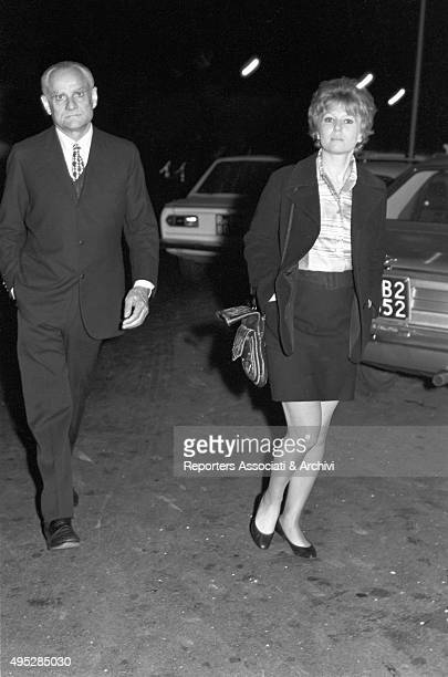 Italian writers Alberto Moravia and Dacia Maraini walking after the Vides party Rome 29th April 1968