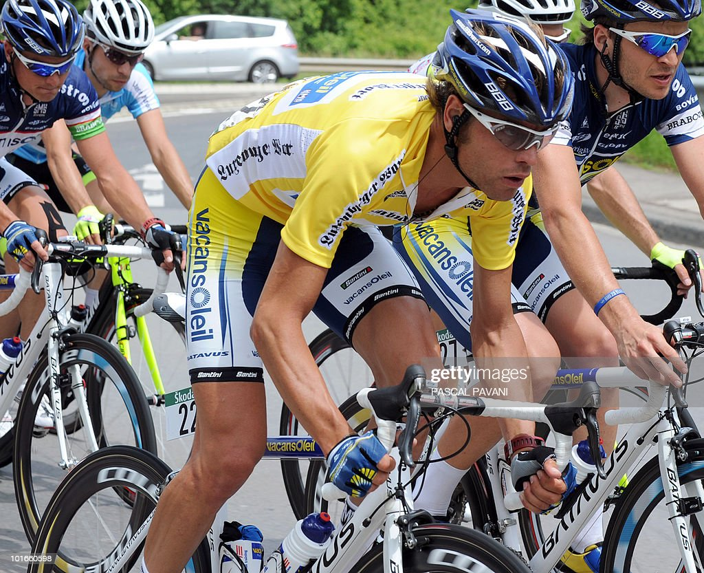 Italian yellow jersey Matteo Carrara (C) rides in the pack during the 'Tour of Luxembourg' last stage on June 6, 2010 in Luxembourg. Spain's Gorka Izaguirre won the stage as Matteo Carrara won the race ahead of Luxembourg's Franck Schleck and Lance Armstrong.