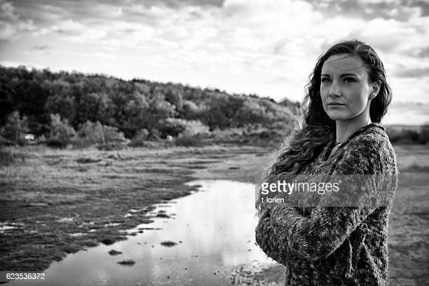 Italian young woman outdoors.