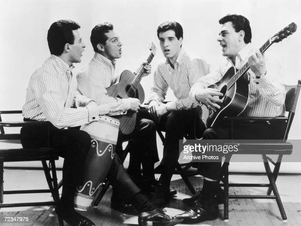 Italian-American vocal group The Four Seasons, circa 1963. Left to right: Frankie Valli, Tommy DeVito, Bob Gaudio and Nick Massi .