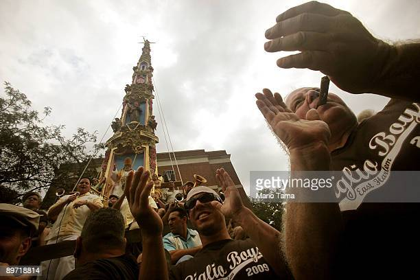 Italian-Americans gather during the 'The Dance of the Giglio' at the Giglio di Sant� Antonio Feast in East Harlem August 9, 2009 in New York City....