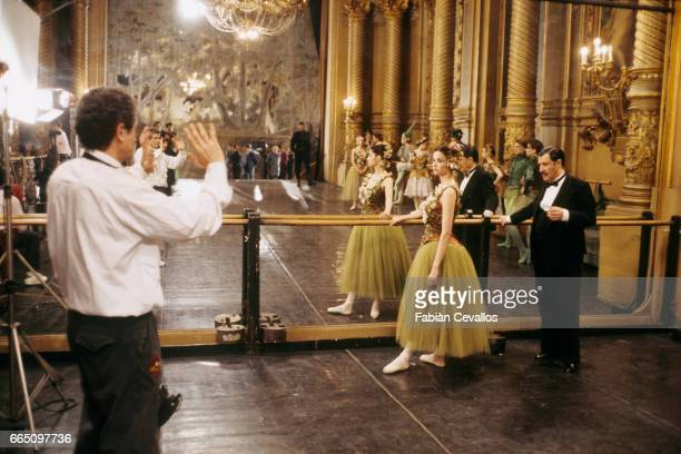 Italianborn actress Alessandra Martines directed by her husband French director Claude Lelouch on the set of his film Les Miserables based on Victor...