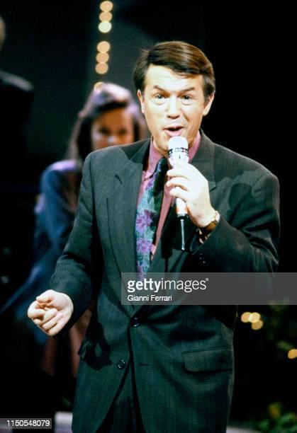 Italian-born Belgian singer Salvatore Adamo performs, Madrid, Spain, 1991.