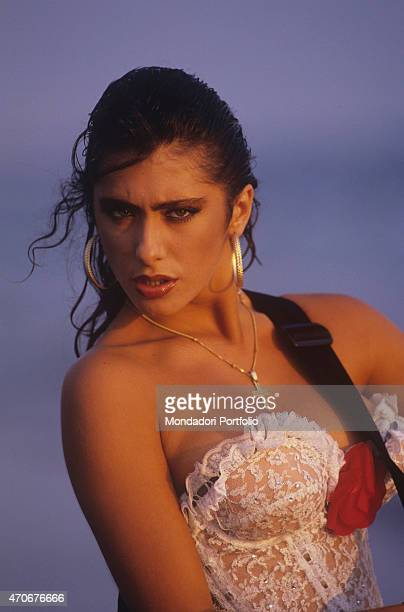 Italianborn British singer and showgirl Sabrina Salerno wearing a lace bodysuit 1988