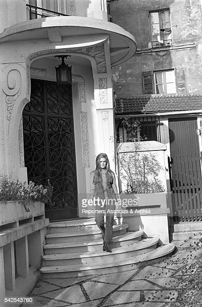 Italianborn French actress and singer Dalida posing outside her house Paris 1970