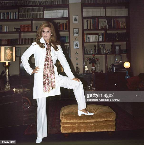 Italianborn French singer and actress Dalida posing in her house Paris 1968