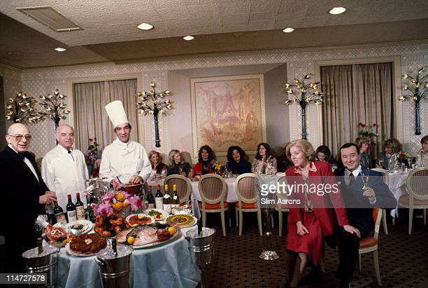 Italianborn restaurateur Sirio Maccioni with staff and clients at Le Cirque his establishment in New York April 1981 At the table in the background...
