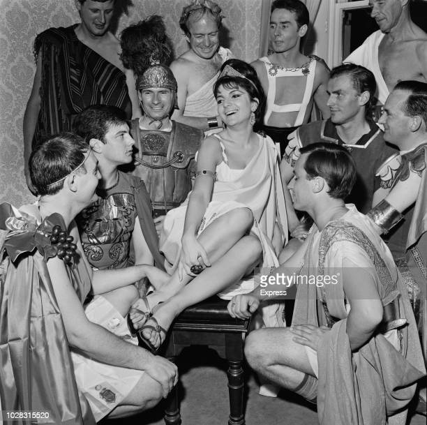 Italianborn South African singer actress and television performer Dana Valery with guests at her 21st 'Roman' themed birthday party UK 27th July 1964