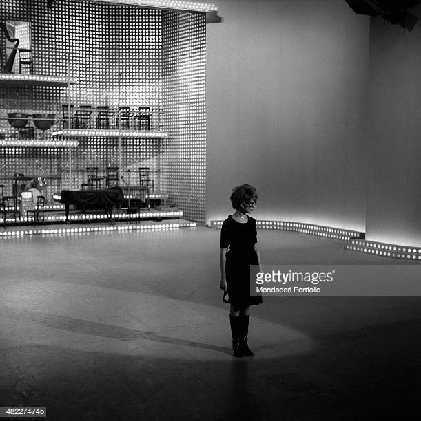 Italianborn Swiss singer and TV presenter Mina rehearsing a part of the TV variety show Studio Uno at Teatro delle Vittorie Rome May 1966