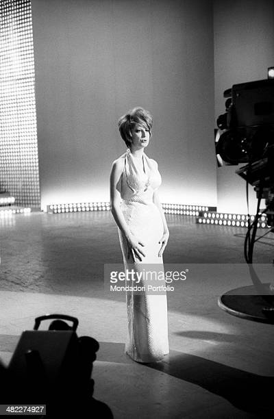 Italian-born Swiss singer and TV presenter Mina singing a song while rehearsing a part of the TV variety show Studio Uno at Teatro delle Vittorie....