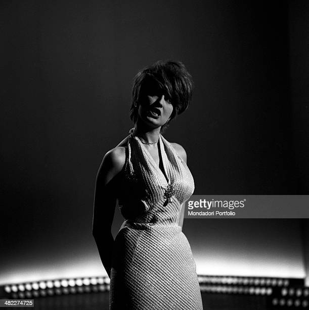 Italianborn Swiss singer and TV presenter Mina singing while rehearsing a part of the TV variety show Studio Uno at Teatro delle Vittorie Rome May...