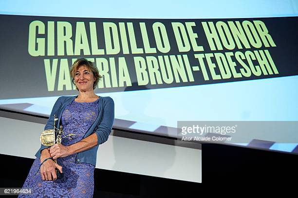 ItalianFrench actress screenwriter and film director Valeria Bruni Tedeschi attends the International European Film Festival 2016 on November 9 2016...