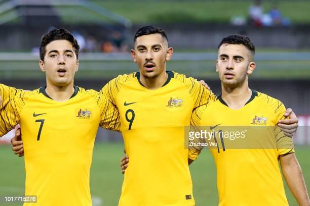 Italiano Jacob Najjar Moudi Najjarine Ramy of Australia in action during the Japan U18 and Australia U18 during the SBS Cup International Youth...