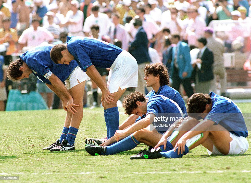Italians Franco Baresi, Daniele Massaro, Paolo Mal : News Photo