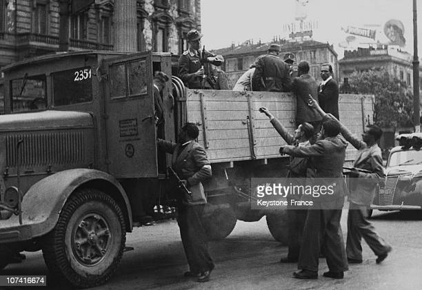 Italians Partisans Capturing Members Of Luftwaffe In Milan On May 1945