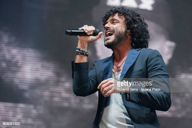 Italians popsinger Francesco Renga performs the opening concert of their 'Nek Max Renga Tour' at Unipol Arena on January 20 2018 in Bologna Italy