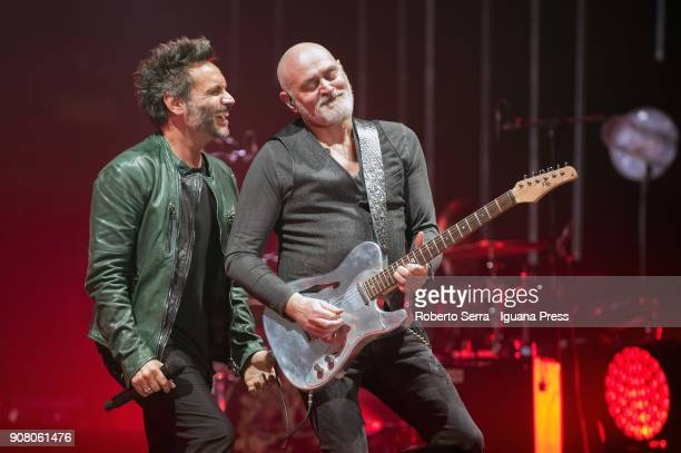 Italians popsinger Nek performs the opening concert of their 'Nek Max Renga Tour' at Unipol Arena on January 20 2018 in Bologna Italy