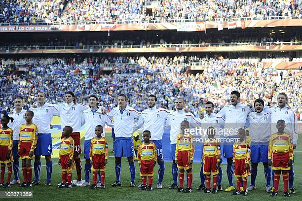 Italians sing their national anthem before the Group F first round 2010 World Cup football match Italy versus Slovakia on June 24 2010 at Ellis Park...