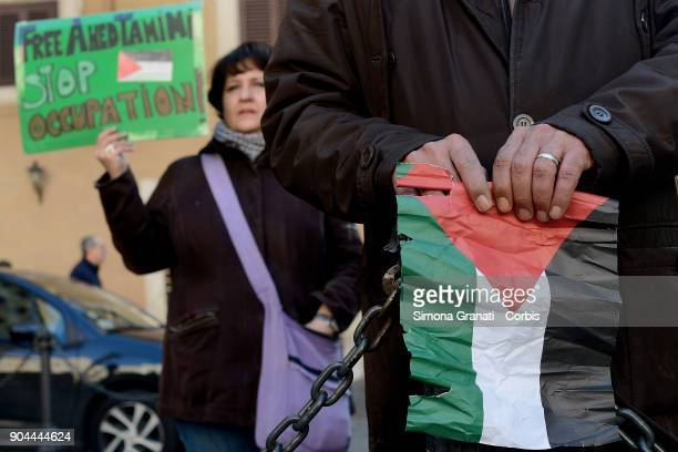 Italians stage sit in at Parliament calling for the release of Ahed Tamimi from Israeli jail on January 13 2018 in Rome Italy