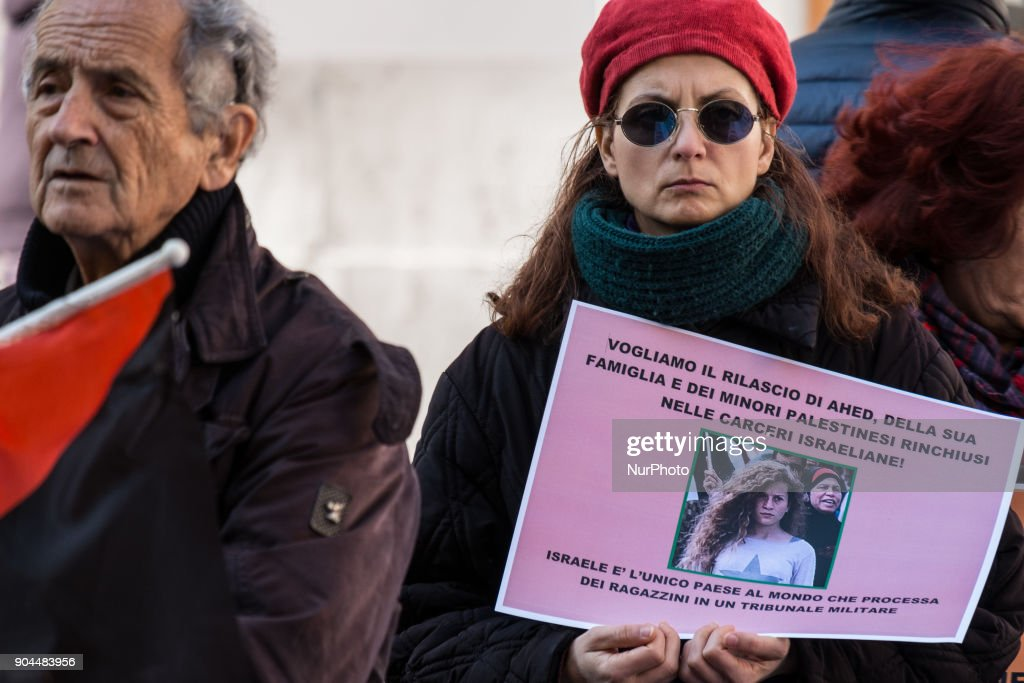 Italians stage sit in at Parliament calling for the release of Ahed Tamimi from Israeli jail on January 13, 2018 in Rome, Italy.
