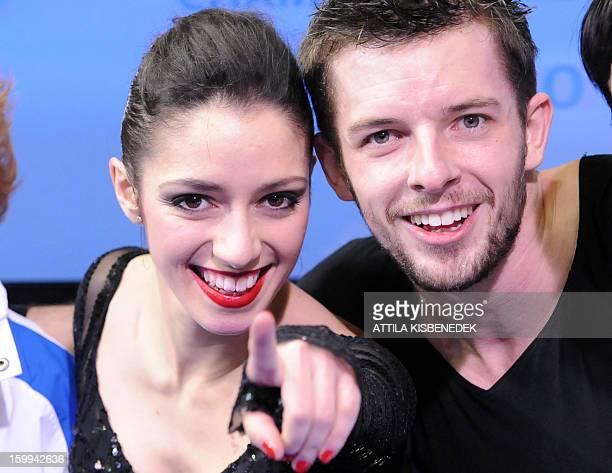 Italians Stefania Berton and Ondrej Hotarek celebrate after their program in the 'Dom Sportova' sports hall of Zagreb on January 23 2013 during the...