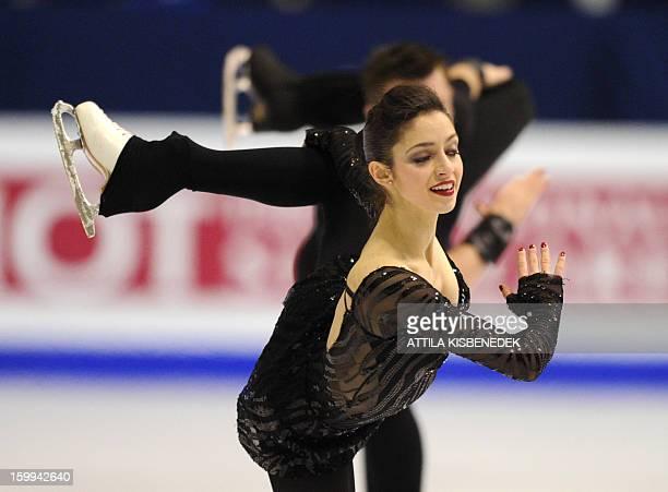 Italians Stefania Berton and Ondrej Hotarek perform on ice of 'Dom Sportova' sports hall in Zagreb on January 23 2013 during the short program for...