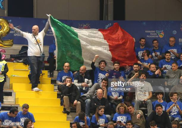 Italians supporters cheers during the FIBA Eurobasket 2021 Group B qualifiers basket match Italy vs Russia. Italy won 83-64.