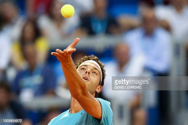 Italia's Marco Cecchinato serves the ball during the Umag 2018 ATP 250 tennis final match between Italia's Marco Cecchinato and Argentina's Guido...